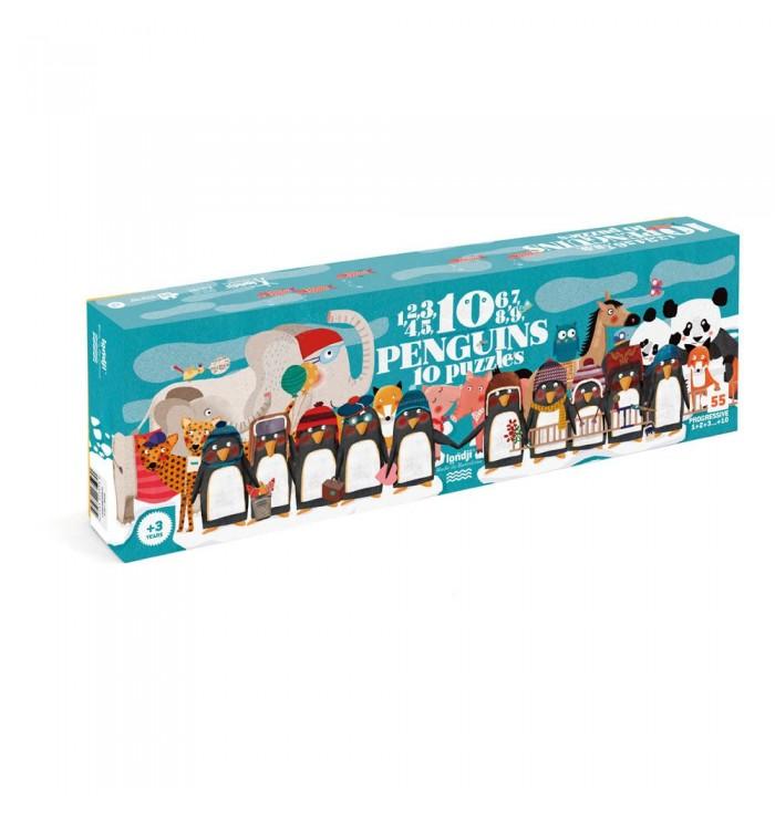 Puzzle 55 pezzi Londji - 10 penguins