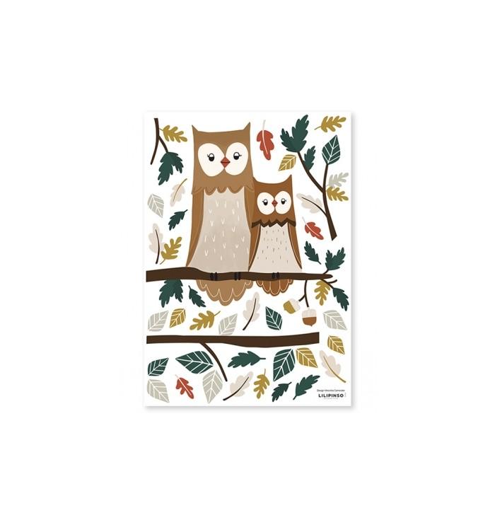 Stickers murali Lilipinso - Famiglia di Gufi