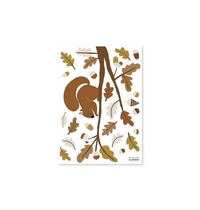 Lilipinso Wall Stickers - Squirrel and Oak Leaves