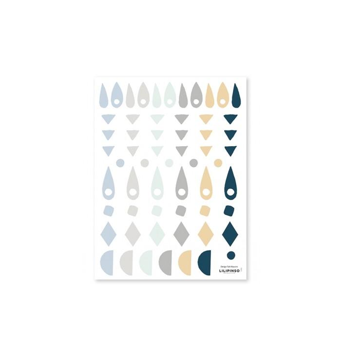 Lilipinso Wall Stickers - Blue & Grey Geometries