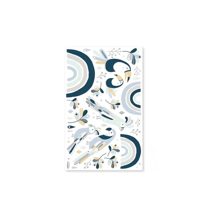 Lilipinso Wall Stickers - Blue & Grey Tropical