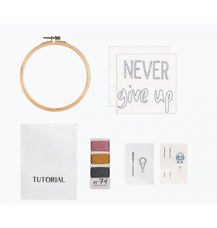 N° 74 Hoop Kit Quote - Never Give Up