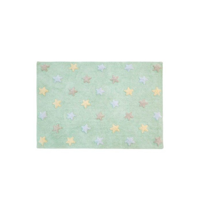Tricolor Stars Mint Rug - Lorena Canals