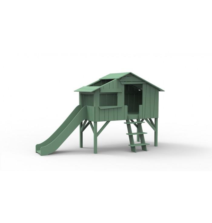 THREEHOUSE SINGLE BED & SLIDE (MDF+PINE) - Mathy by Bols