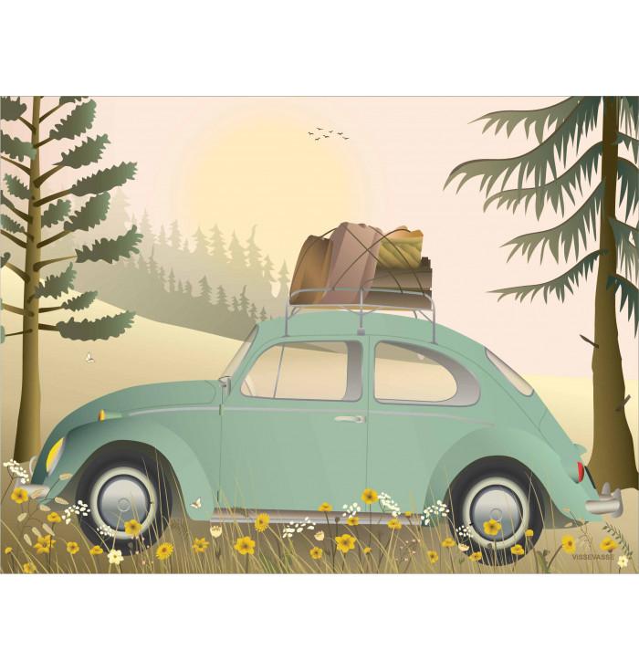 Poster 30x40 - VW beetle green - Vissevasse