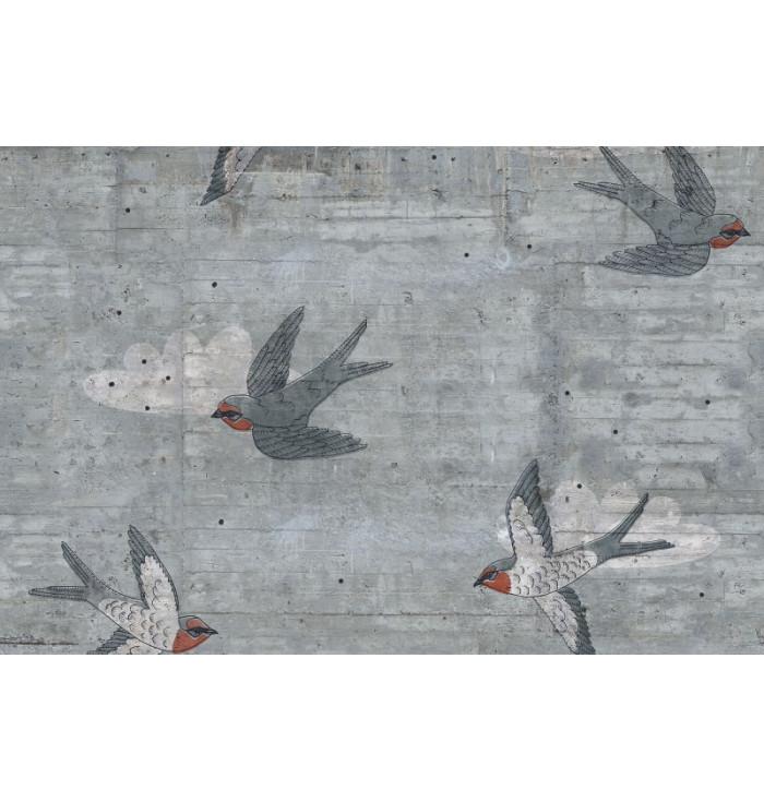 Wallpaper - Concrete Art Swallow - Rebel Walls