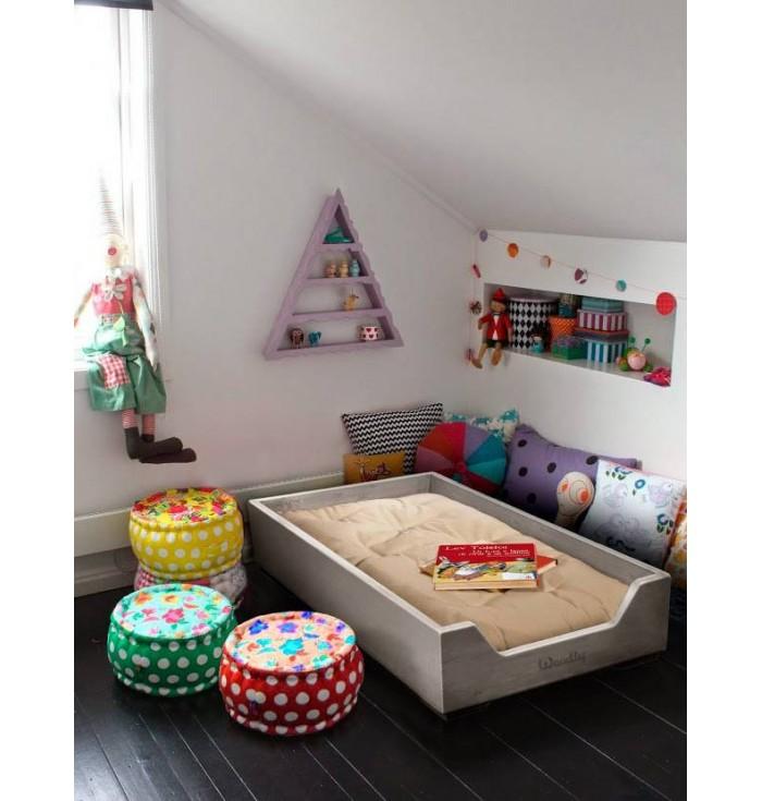 Stackable cot with Futon Montessori - White