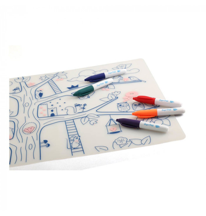 Silicone placemat set with washable pens