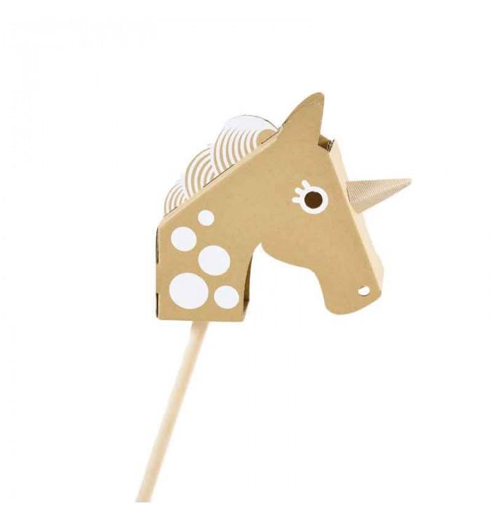 Unicorn head in cardboard coloring