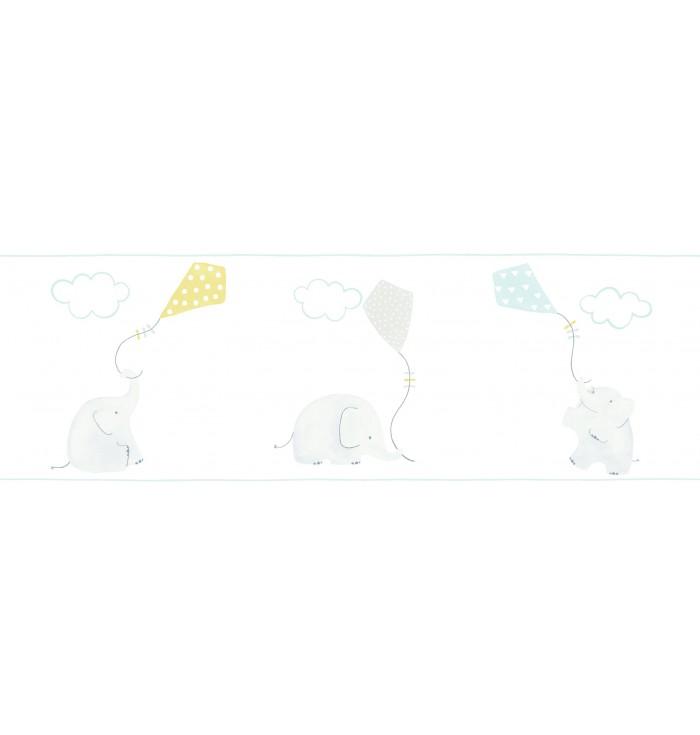 Bordo in carta da parati My Little World - Elefanti - Casadeco