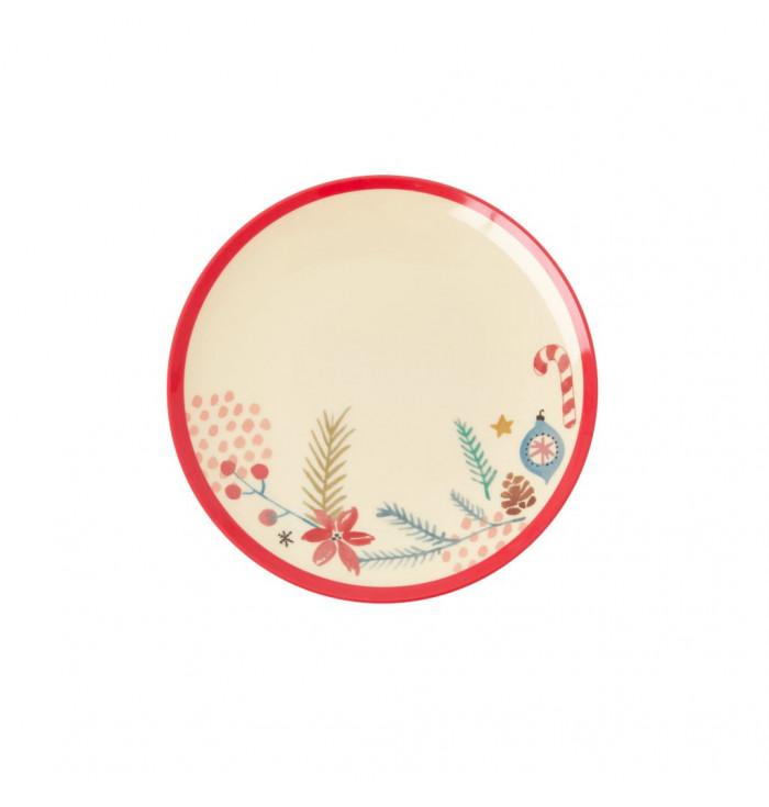 Piatto piano small in melamina Natale - Rice DK