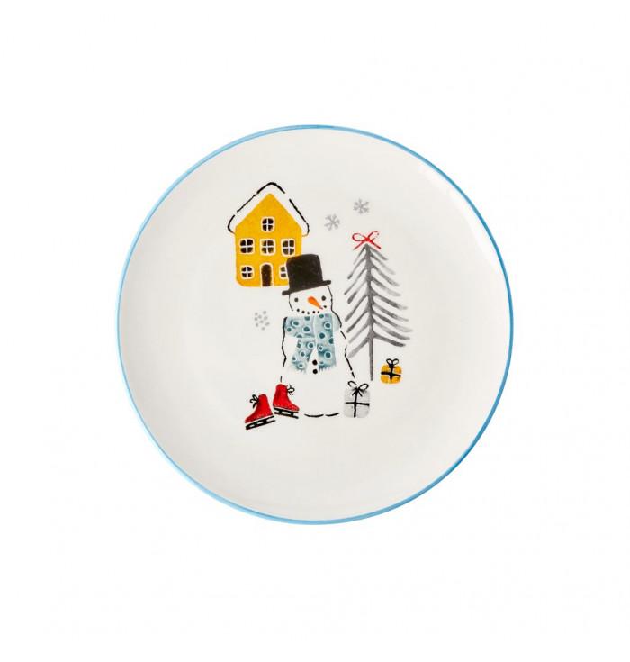 CERAMIC Plate Snowman - Rice dk