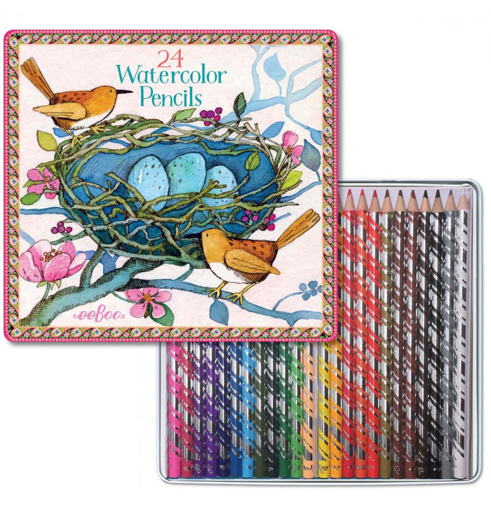 24 watercolor pencils and tin box - Eeboo