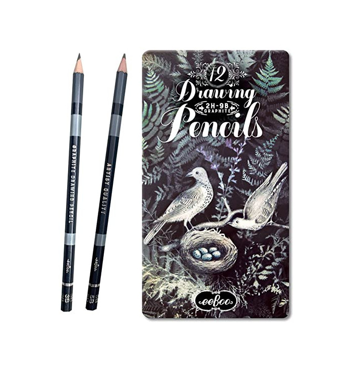 12 drawing pencils and tin pad - Eeboo