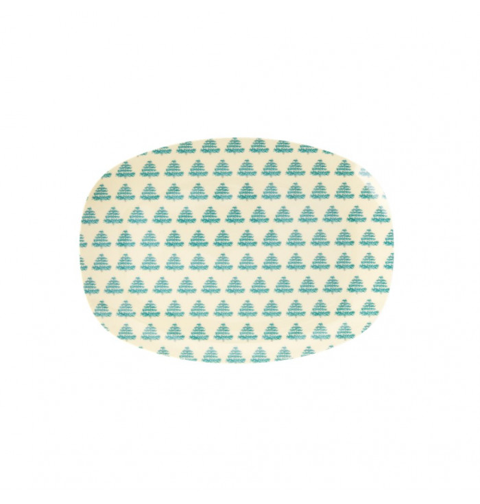 Rectangular Small Melamin Plate with Christmas trees - Rice DK