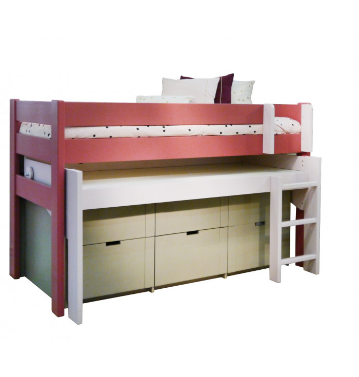 Domininque Loft Bed With Desk And drawers - Mathy by Bols