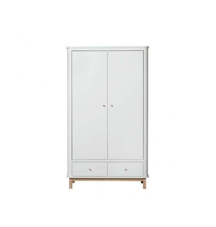 Wood Wardrobe with 2 Doors - Oliver Furniture
