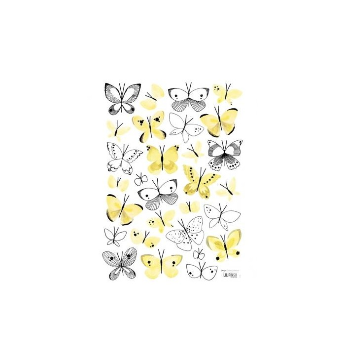 Stickers with yellow butterflies