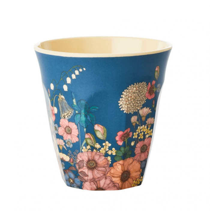 Bicchiere medium in melamina - fiori blu - Rice DK