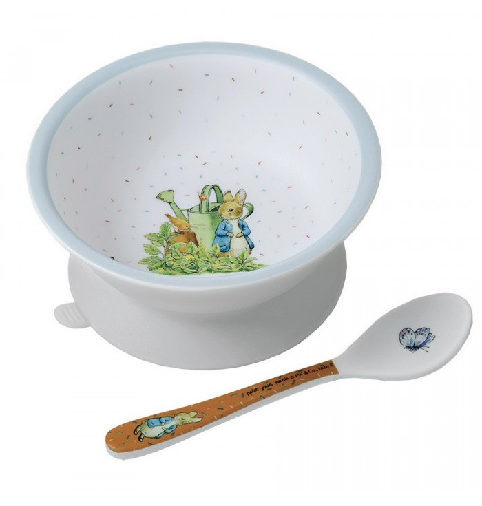 Bowl with suction pad and spoon - Peter rabbit - Petit Jour