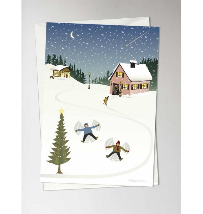 Greeting card Snow angels - Vissevasse