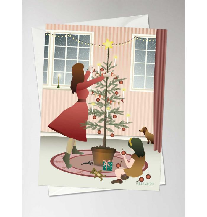Greeting card Decorating the tree - Vissevasse