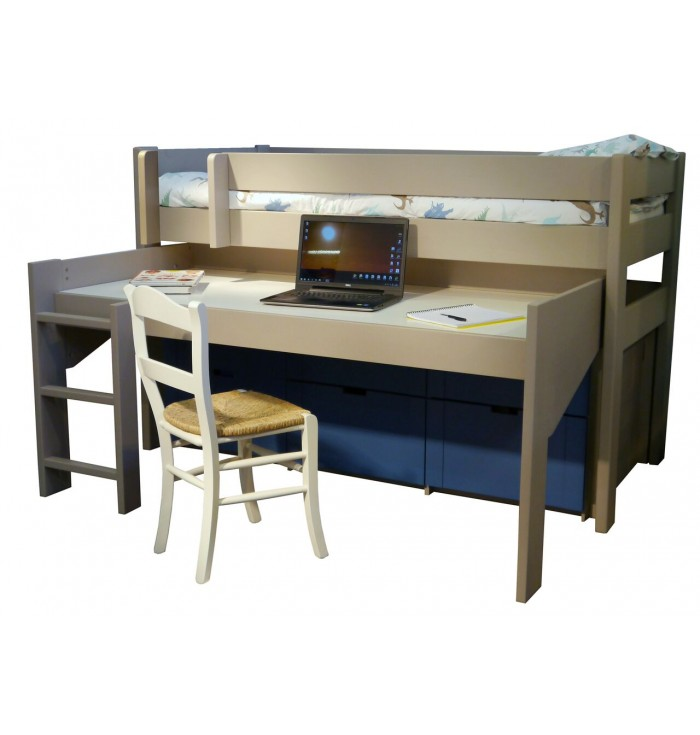 Domininque Loft Bed With Desk And Sliding Doors - Mathy by Bols