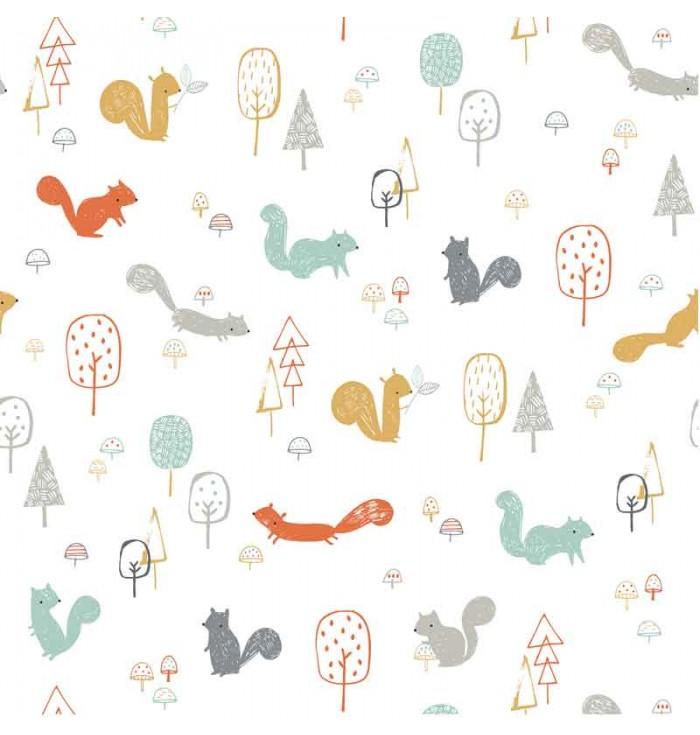 Carta da parati con illustrazioni nel bosco - Lilipinso