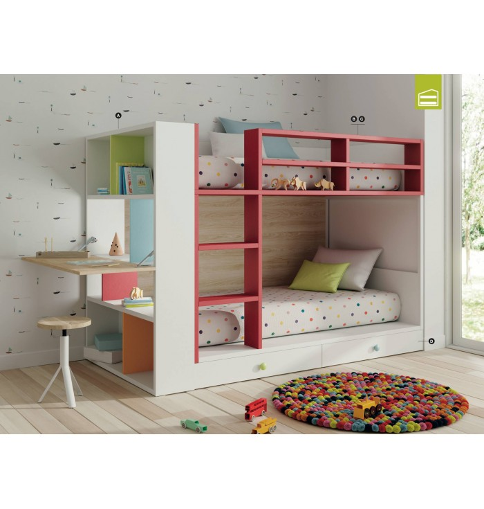Bookcase With Desk For Bunk Bed Flat - Lagrama
