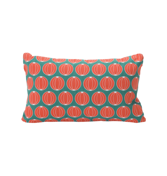 Drawings Round Cushion - Red Blue