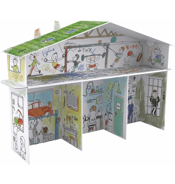 Only For Boys - 3D House for coloring paper