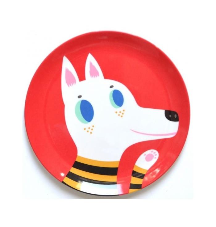 Piattino piano in melamina con lupo rosso - Petit Monkey