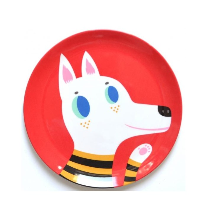 Piattino piano in melamina con lupo rosso