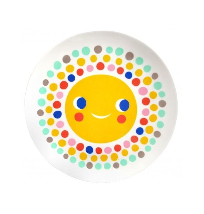Piattino piano colorato in melamina con Sole - Omm design