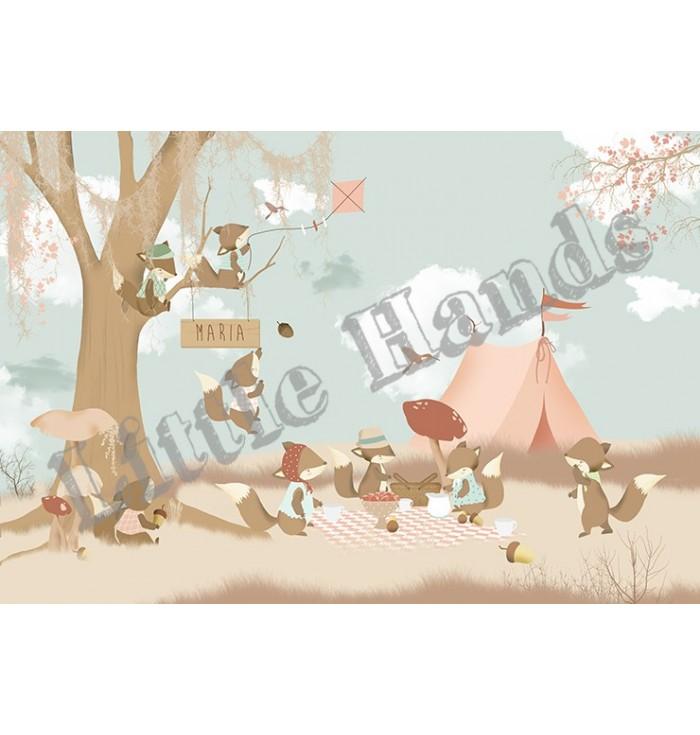 Carta Da Parati - Little Foxes - Little Hands