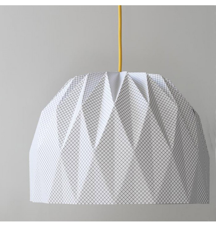 Lampshade In White Paper With Graphic