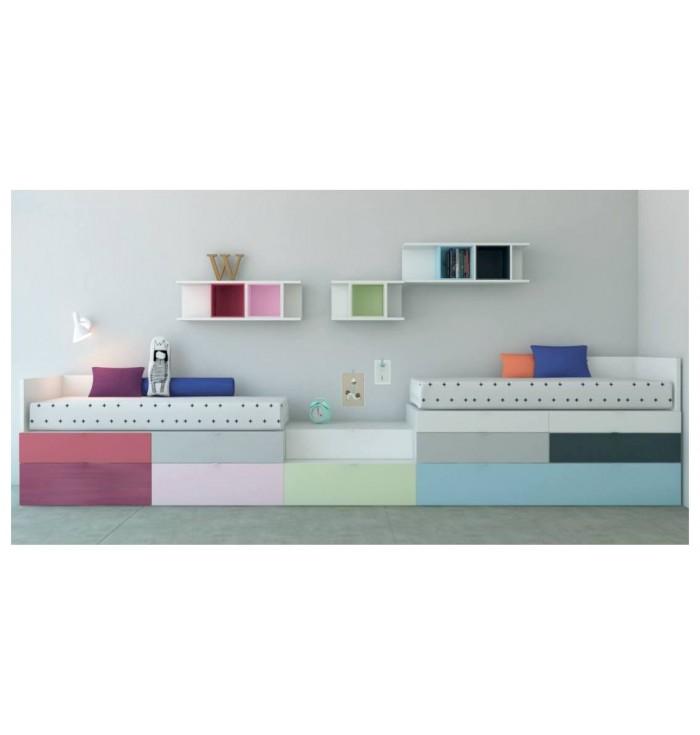 Sistema Kubox - parete attrezzata con due letti