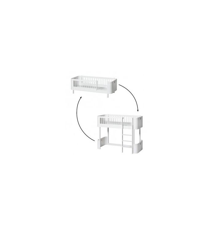 Kit di conversione - Da Lettino Wood Mini+ a Lettino a soppalco Wood Mini+ (Low Loft Bed) - Oliver Furniture
