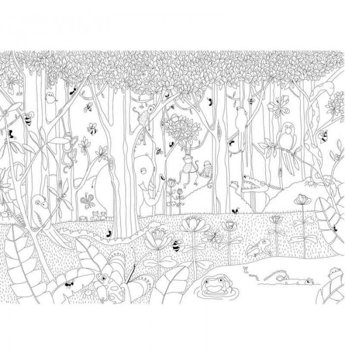 Carta da parati gli amici della jungla da colorare
