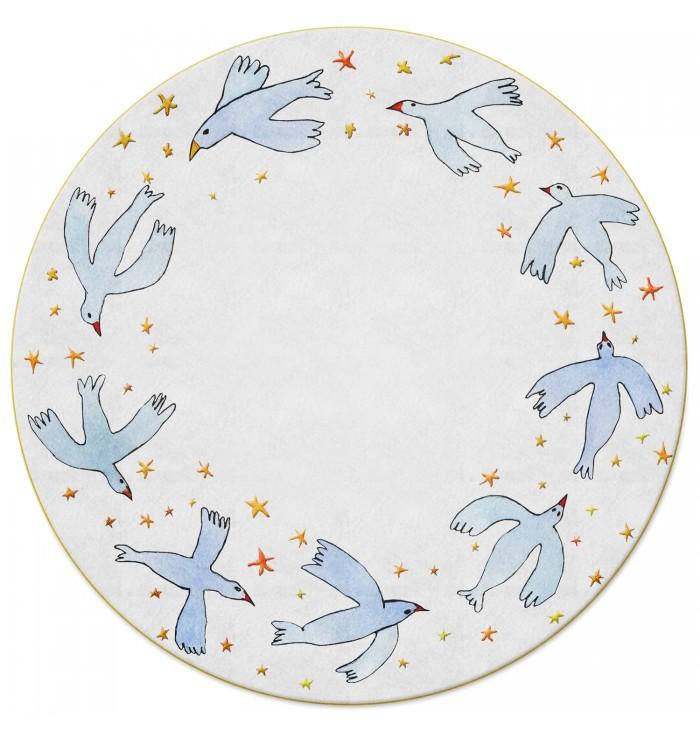 Tappeto tondo in lana - Birds in Circle
