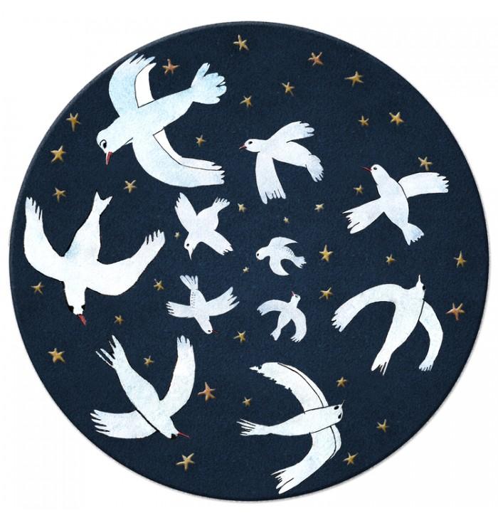 Tappeto tondo in lana - Sky of Birds
