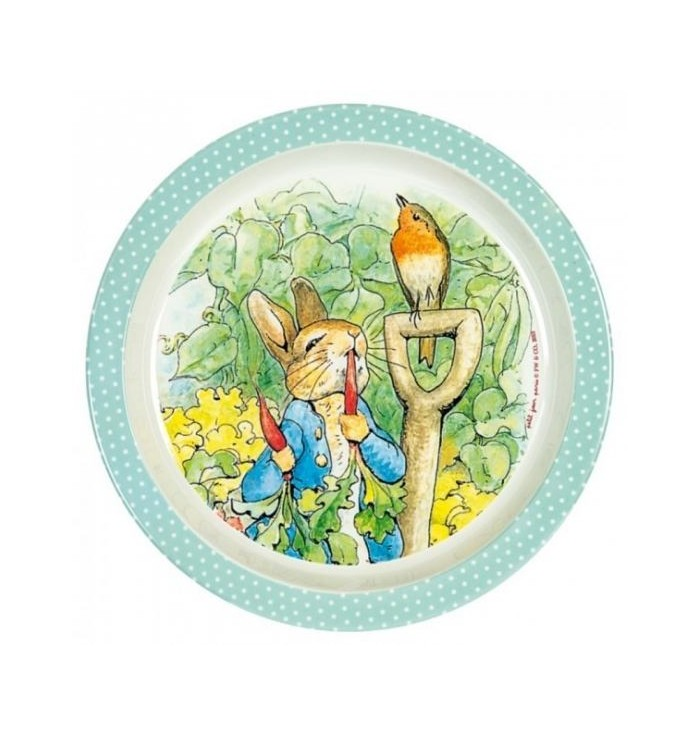 Flat plate in melamine with peter rabbit design